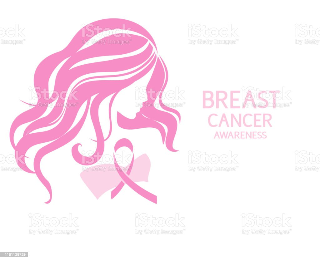 Breast Cancer Awareness Month Design Template Pink Ribbon With Woman Silhouette Stock Illustration Download Image Now Istock