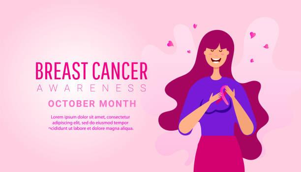 ilustrações, clipart, desenhos animados e ícones de mês da consciência do cancro da mama ilustração da mulher para a ajuda e a sustentação no fundo cor-de-rosa - pink october