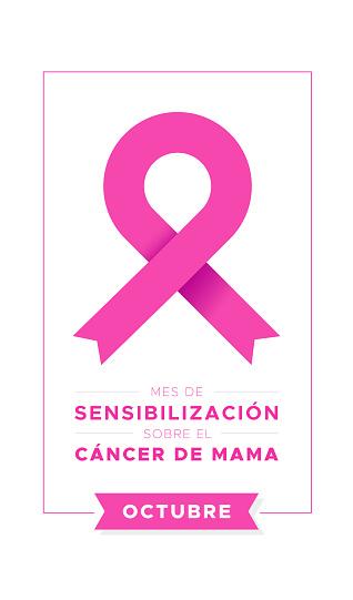 Breast Cancer Awareness Month in Spanish. October. Mes de sensibilizacion sobre el cancer de mama. Octubre. Vector illustration, flat design