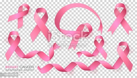 Breast Cancer Awareness Month. Pink Color Ribbon Isolated On Transparent Background. Vector Design Template For Poster. Illustration.