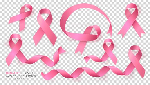 Breast Cancer Awareness Month. Pink Color Ribbon Isolated On Transparent Background. Vector Design Template For Poster. Breast Cancer Awareness Month. Pink Color Ribbon Isolated On Transparent Background. Vector Design Template For Poster. Illustration. breast stock illustrations