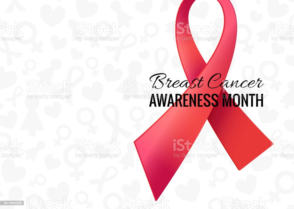 Breast Cancer Awareness Month Poster Vector White Background With