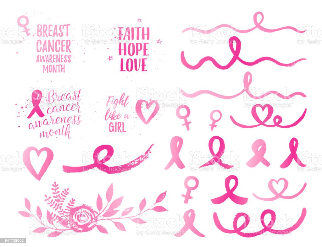 Breast Cancer Awareness Month ribbon, Faith Hope Love, Fight like a Girl banner, elements set. Vector pink gradient text on white background with ribbon, bow, bouquet, heart, wave. vector art illustration