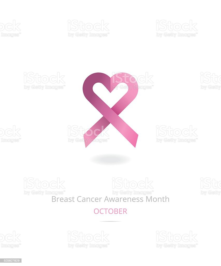 Breast cancer awareness month ribbon vector art illustration