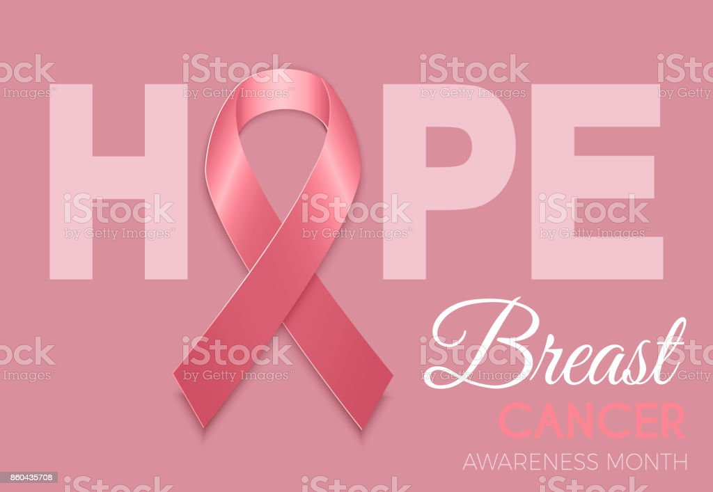 Breast cancer awareness month symbol emblem with  pink ribbon sign on pink background. Vector vector art illustration