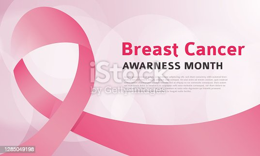 istock Breast cancer awareness month vector banner with pink ribbon 1285049198