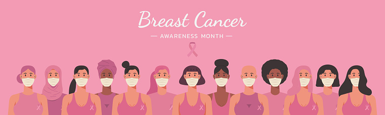 breast cancer awareness month web banner with diverse ethnic women group wearing face masks