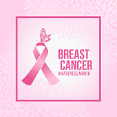 istock Breast Cancer Awareness month with Butterfly on Pink ribbon sign in pink frame and soft pink abstract flower background vector design 1321455738