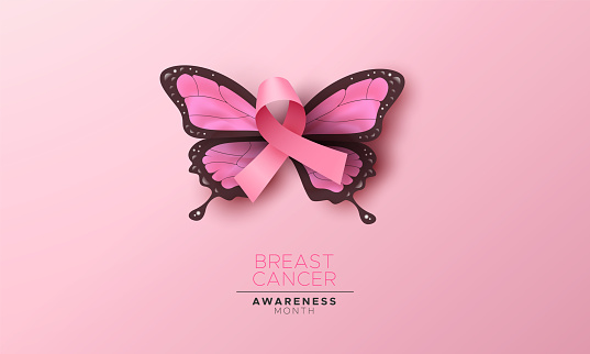 Breast Cancer awareness month illustration, 3d pink silk ribbon for women support and beautiful butterfly wings. Feminine design concept of woman health campaign.