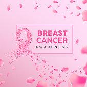 Breast Cancer awareness month floral illustration, pink ribbon shape made of rose flower petals for health campaign concept background.