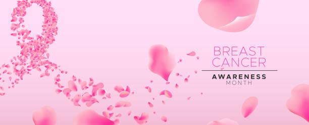 ilustrações, clipart, desenhos animados e ícones de consciência de câncer de mama rosa flor pétala fita - pink october