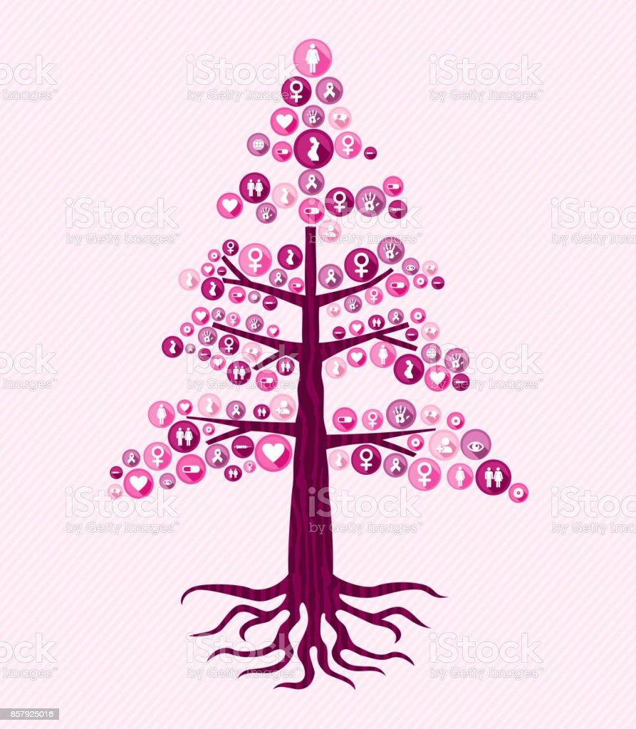 Breast cancer awareness pink health icon tree art vector art illustration