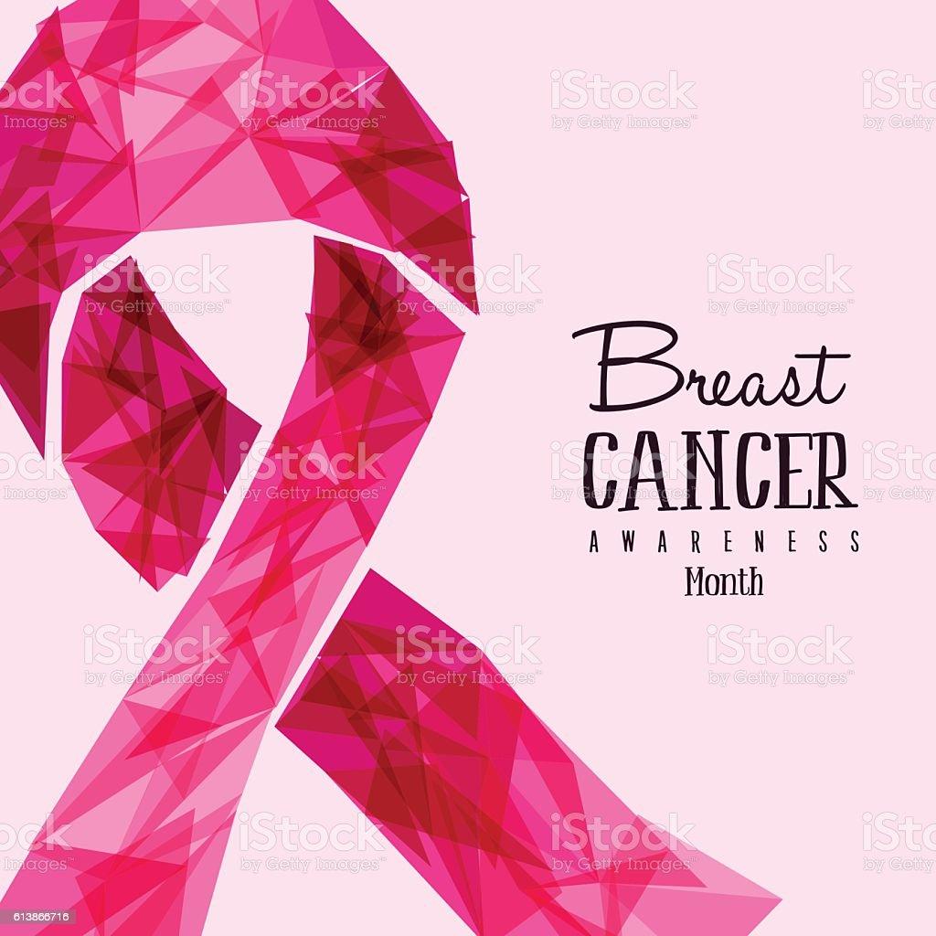 Breast Cancer Awareness pink ribbon vector art illustration