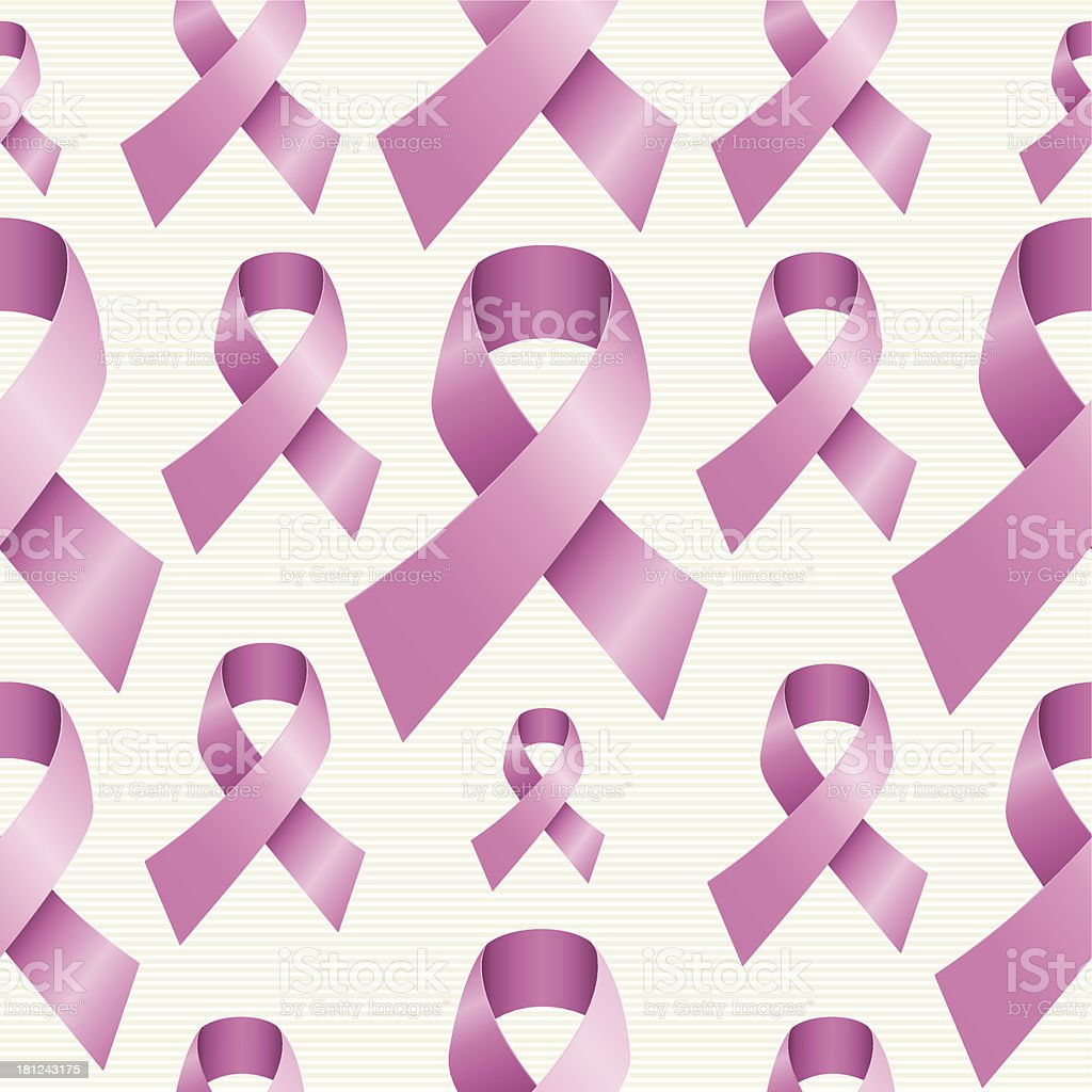Breast cancer awareness ribbon seamless pattern royalty-free stock vector art