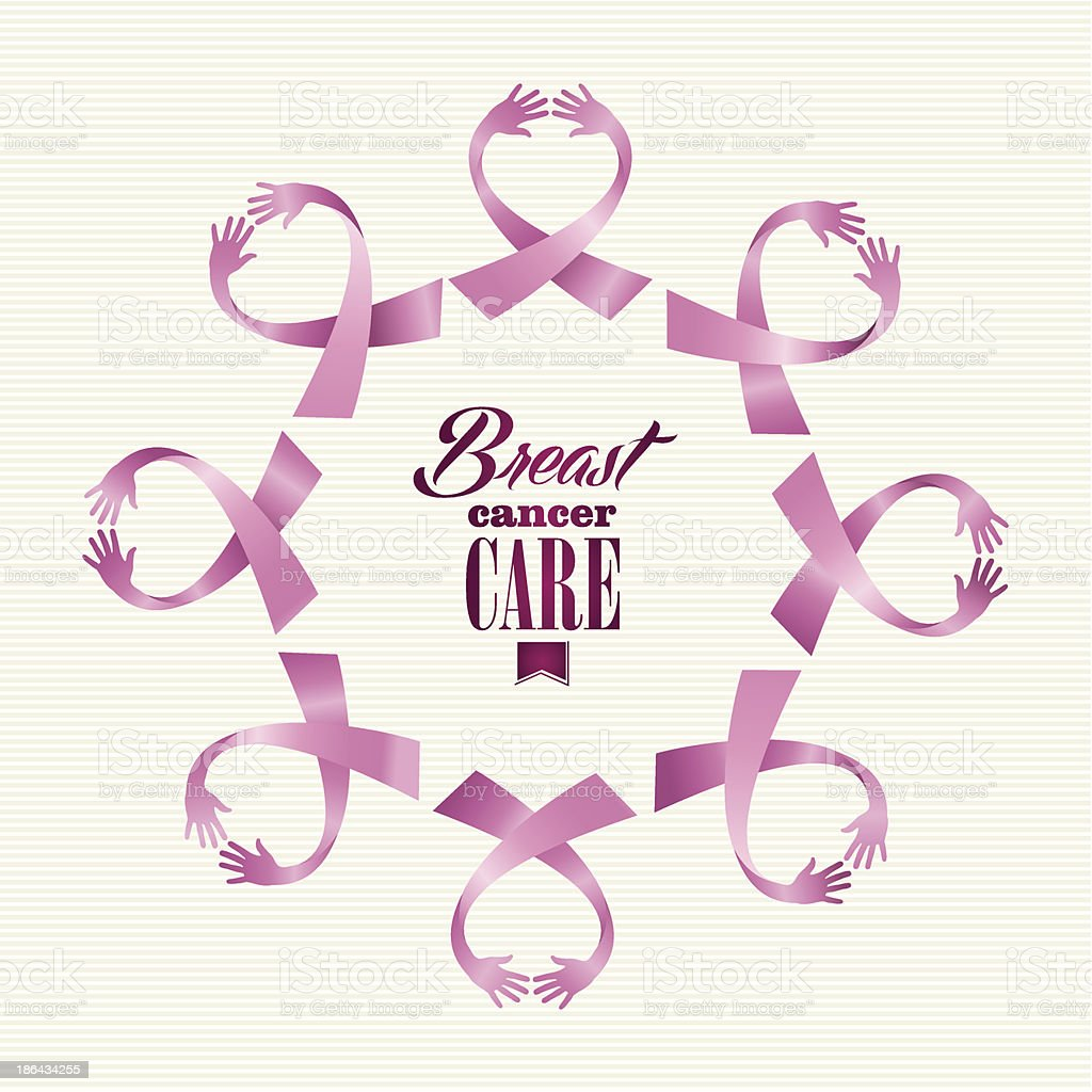 Breast cancer awareness ribbon women hands circle shape. royalty-free stock vector art