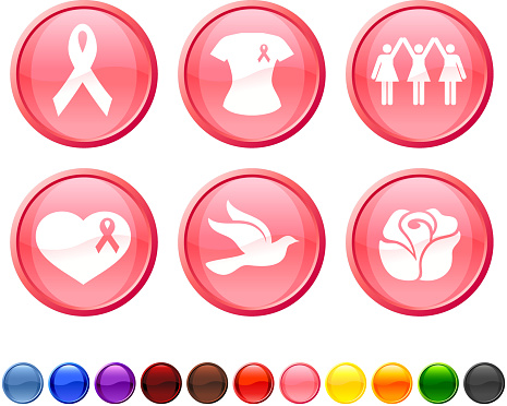 breast cancer awareness royalty free vector icon set