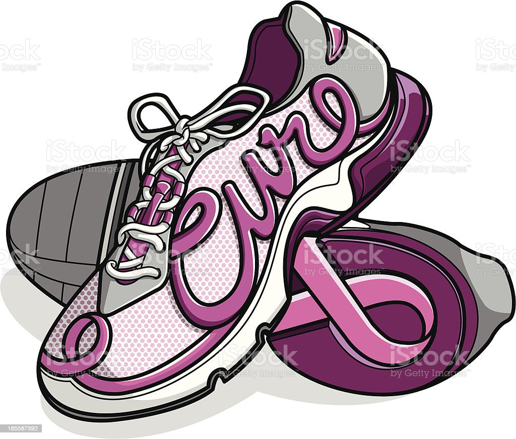 breast cancer awareness walkingrunning shoes stock vector art more rh istockphoto com free clipart of breast cancer ribbon breast cancer ribbon borders clip art free