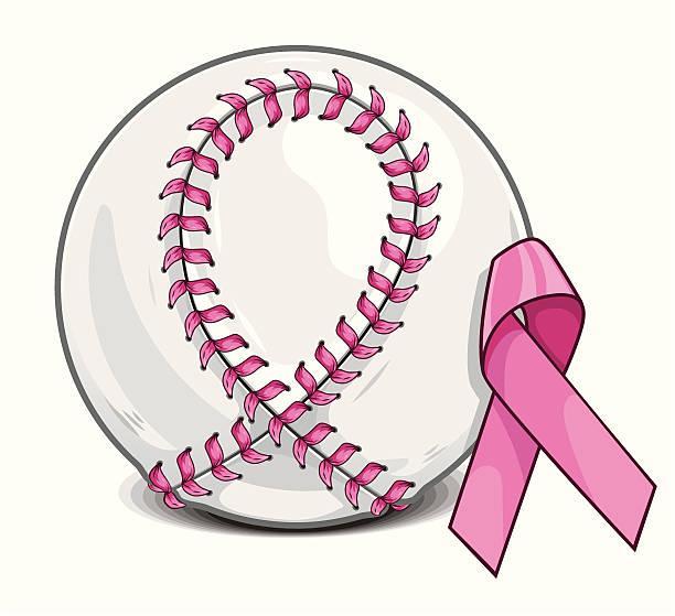 Breast Cancer Baseball vector art illustration