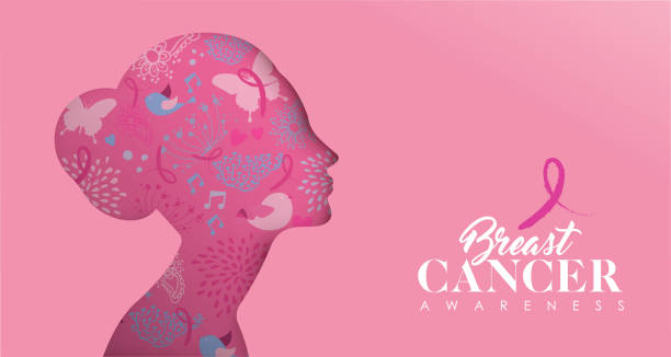 meme cancer care afiş kesme kadın yüz - breast cancer awareness stock illustrations