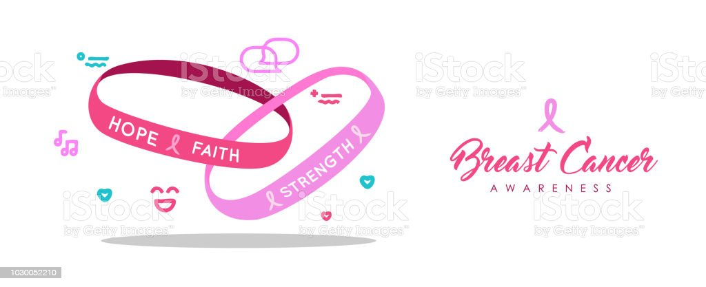 Breast Cancer Care Rosa Charity Armband Banner Stock Vektor Art Und
