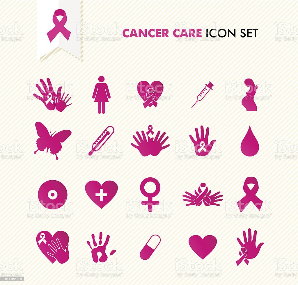Breast cancer care text awareness ribbon related icons set. vector art illustration