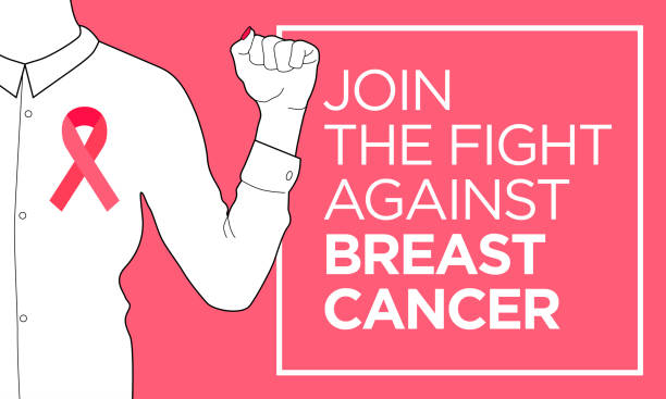 breast cancer. join the fight banner - breast cancer awareness stock illustrations