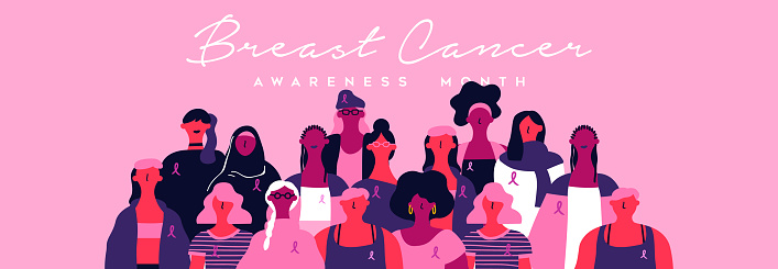 Breast cancer month banner of diverse pink women