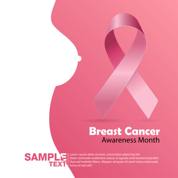 Breast Cancer October Awareness Month Campaign Background with paper girl silhouette and pink ribbon symbol. Women health vector design Breast Cancer October Awareness Month Campaign Background with paper girl silhouette and pink ribbon symbol. Women health vector design breast stock illustrations