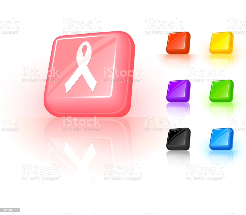 Breast Cancer Ribbon 3d Button Design Stock Illustration