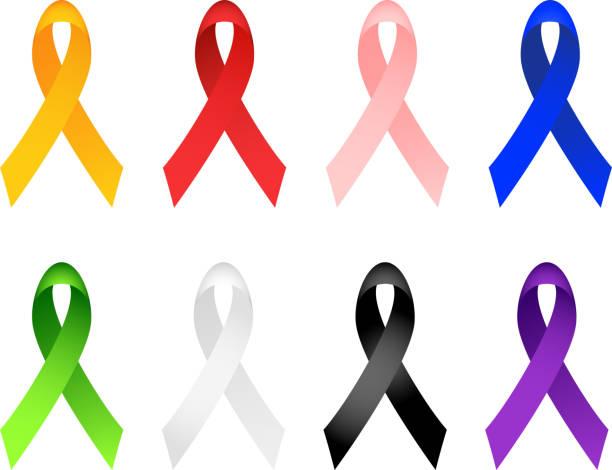 bildbanksillustrationer, clip art samt tecknat material och ikoner med breast cancer ribbon, aids, autism ribbons royalty free vector illustration - blue yellow band