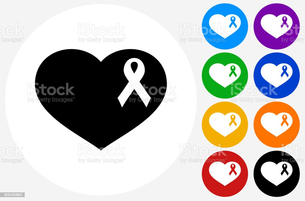 Breast Cancer Ribbon Heart Icon On Flat Color Circle But Stock