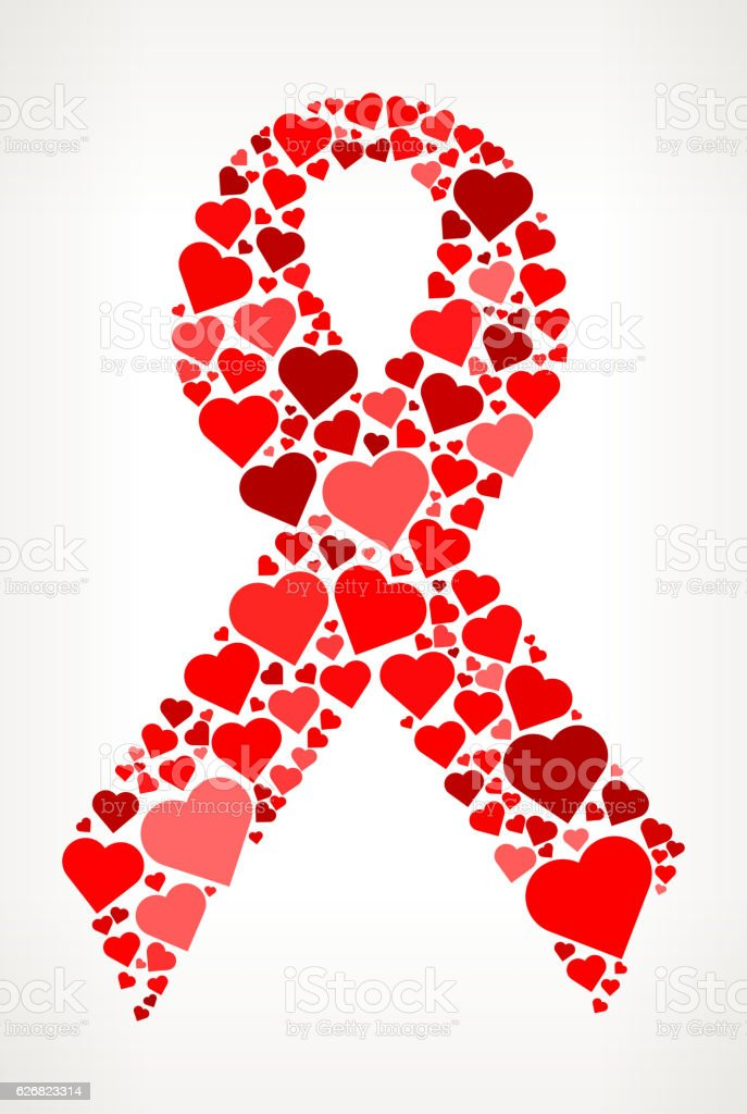 breast cancer ribbon red hearts love pattern stock vector
