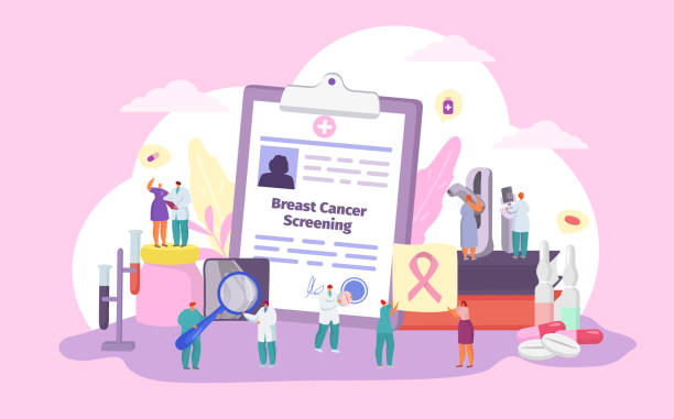 Breast cancer screening vector illustration, cartoon flat patient and doctor tiny characters with ribbon, woman health medicine concept vector art illustration