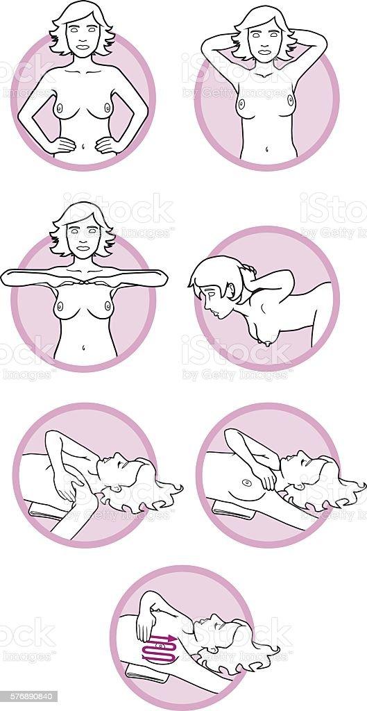 Breast cancer self-check – Vektorgrafik