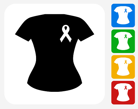 Breast Cancer Support Ribbon Shirt Icon Flat Graphic Design