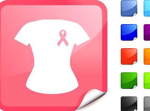 Breast cancer support t-shirt royalty free vector art Pink Sticker