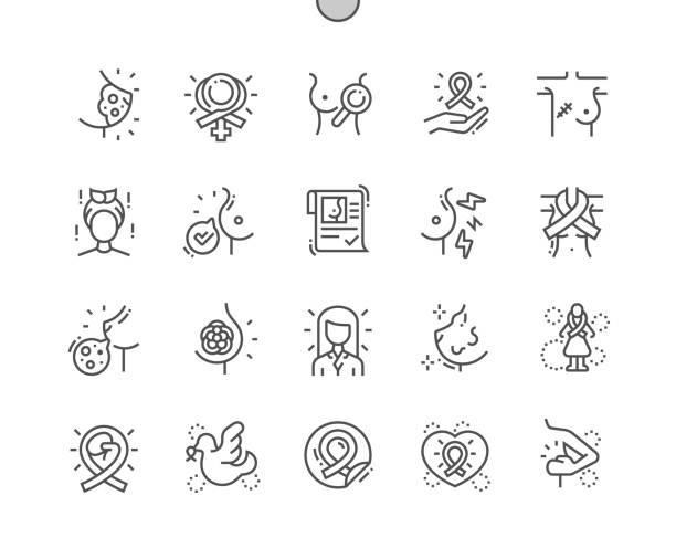 Breast cancer Well-crafted Pixel Perfect Vector Thin Line Icons 30 2x Grid for Web Graphics and Apps. Simple Minimal Pictogram Breast cancer Well-crafted Pixel Perfect Vector Thin Line Icons 30 2x Grid for Web Graphics and Apps. Simple Minimal Pictogram breast stock illustrations