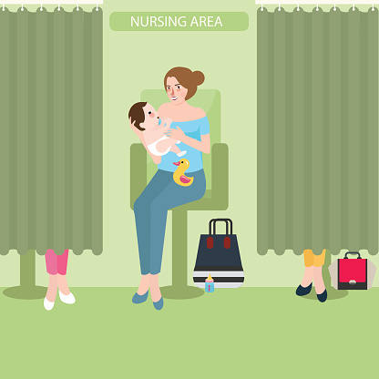 Breast Feeding Lactation Room Facility Public Area Nursing Baby Stock Illustration - Download Image Now