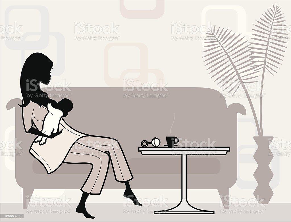Breast feeding Mum vector art illustration