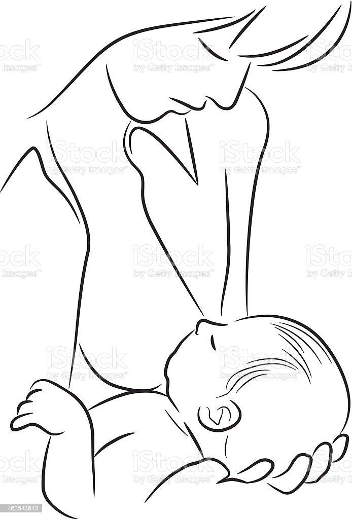 Breast feeding vector art illustration