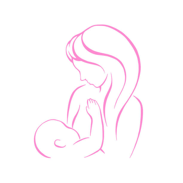 ilustrações de stock, clip art, desenhos animados e ícones de breast feeding vector sign. mother holding newborn baby in arms, abstract symbol of woman breastfeeding baby. mother breastfeeding her baby stylized symbol. vector - breastfeeding