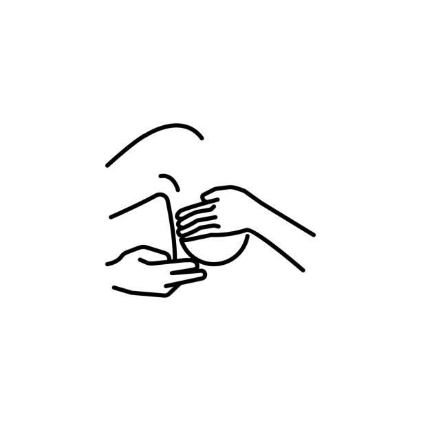 brustentzündung linie symbol auf weißem hintergrund - enzyme stoffwechsel stock-grafiken, -clipart, -cartoons und -symbole