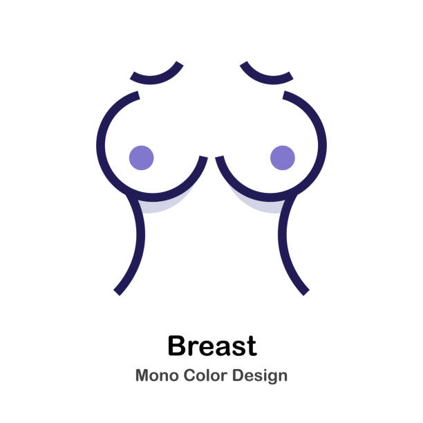 Breast mono color icon Women Breast mono color icon breast stock illustrations