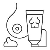 Breast ointment thin line icon. Female bubs and tube outline style pictogram on white background. Woman breast care and health for mobile concept and web design. Vector graphics