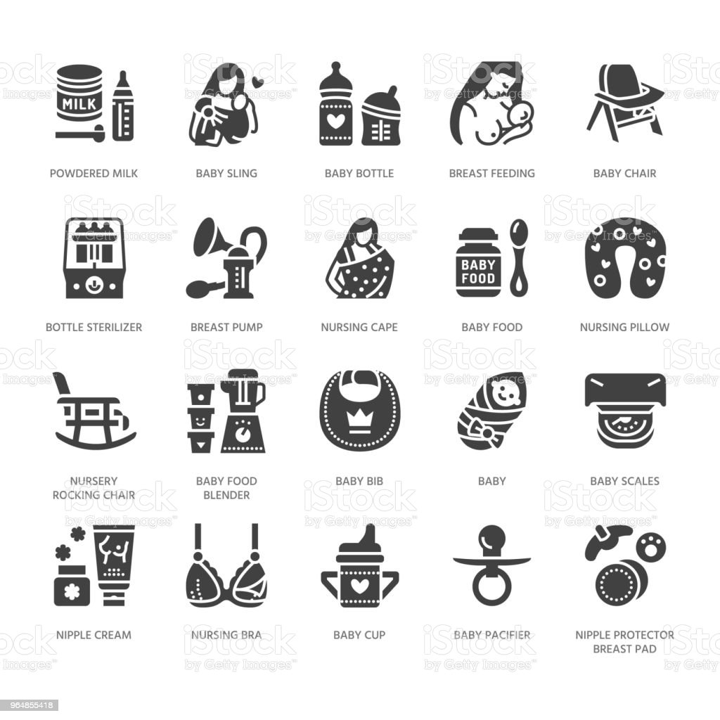 Breastfeeding, baby food vector flat glyph icons. Breast feeding elements - pump, woman, child, powdered milk, bottle sterilizer, nursing pillow. Maternity. Solid silhouette pixel perfect 64x64 royalty-free breastfeeding baby food vector flat glyph icons breast feeding elements pump woman child powdered milk bottle sterilizer nursing pillow maternity solid silhouette pixel perfect 64x64 stock vector art & more images of adult
