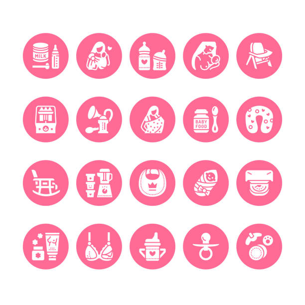 ilustrações de stock, clip art, desenhos animados e ícones de breastfeeding, baby food vector flat glyph icons. breast feeding elements - pump, woman, child, powdered milk, bottle sterilizer, nursing pillow. maternity. solid silhouette pixel perfect 64x64 - breastfeeding