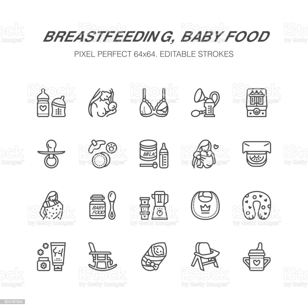breastfeeding baby food vector flat line icons breast