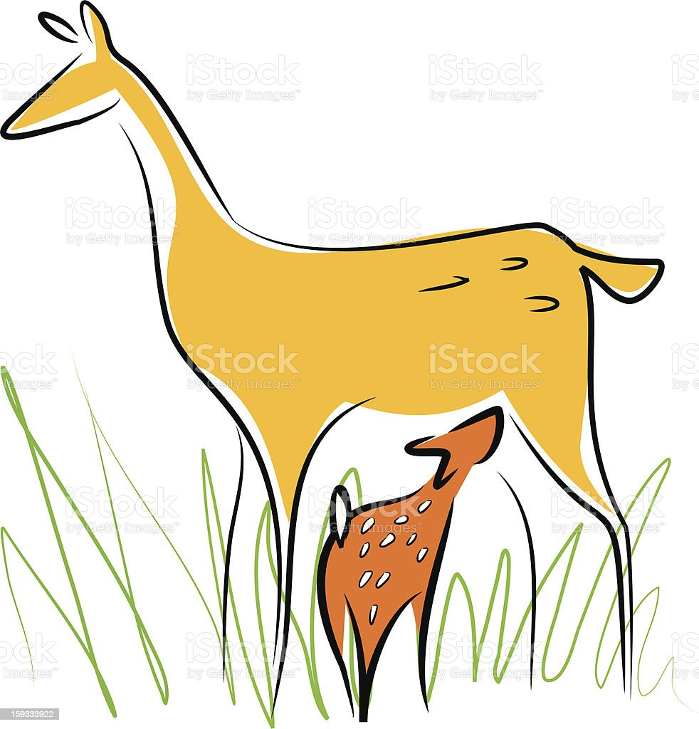 Breastfeeding deer vector art illustration