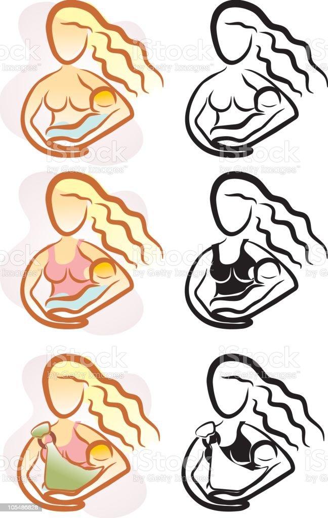 Breastfeeding Icons royalty-free stock vector art