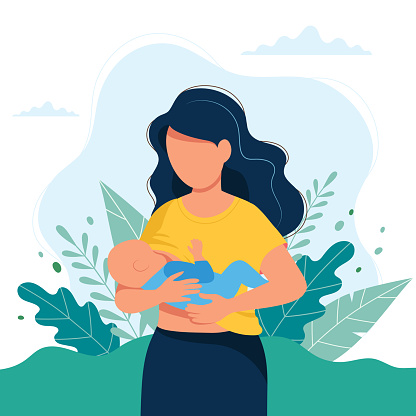 Breastfeeding illustration, mother feeding a baby with breast on natural background. Concept illustration